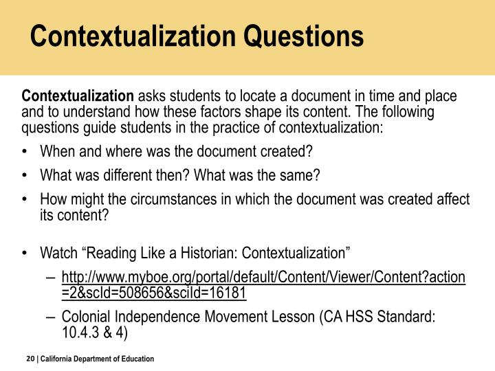 Contextualization Questions