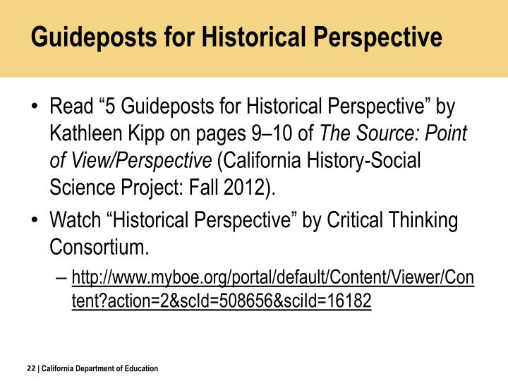 Guideposts for Historical Perspective