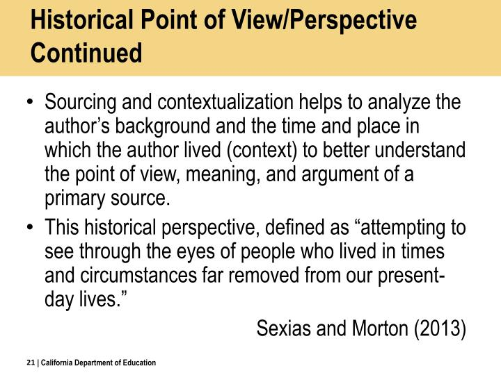 Historical Point of View/Perspective Continued