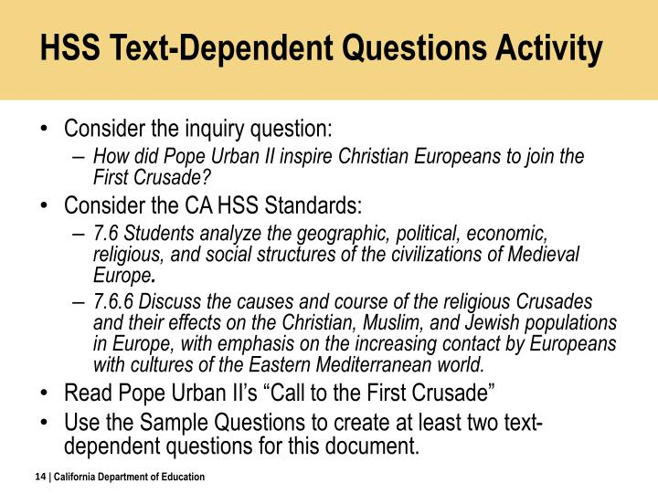 HSS Text-Dependent Questions Activity