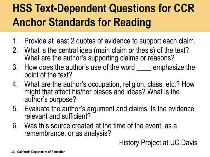 HSS Text-Dependent Questions for CCR Anchor Standards for Reading