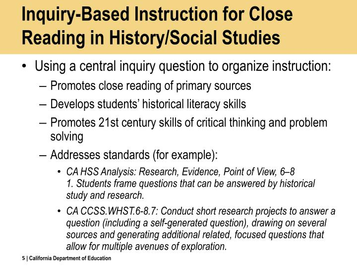 Inquiry-Based Instruction for Close Reading in History/Social Studies