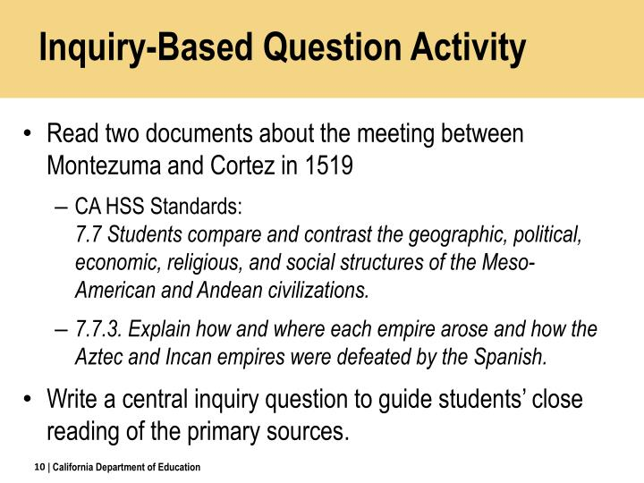Inquiry-Based Question Activity