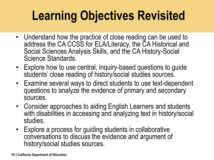 Learning Objectives Revisited