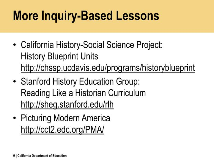 More Inquiry-Based Lessons