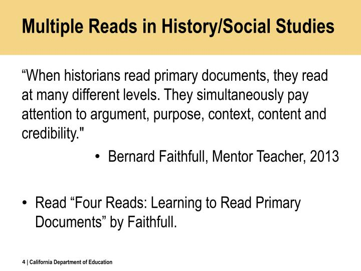 Multiple Reads in History/Social Studies