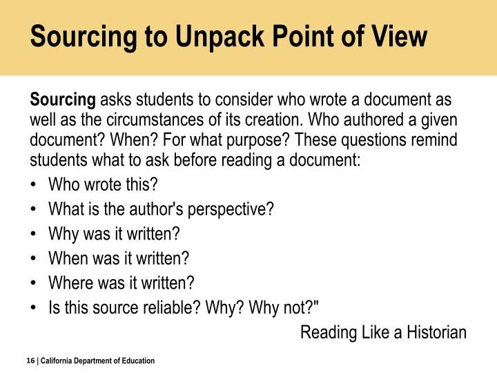 Sourcing to Unpack Point of View