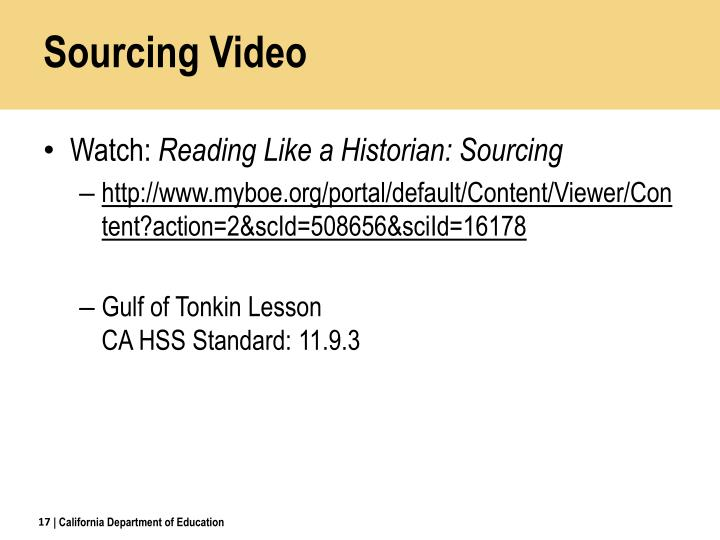 Sourcing Video