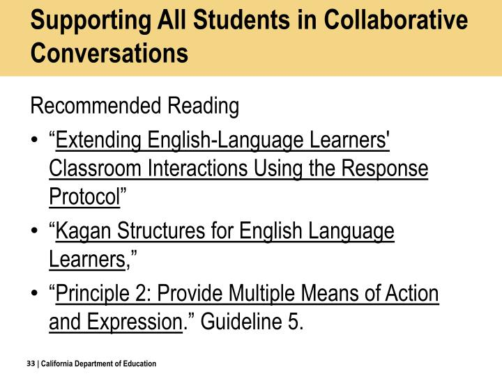 Supporting All Students in Collaborative Conversations