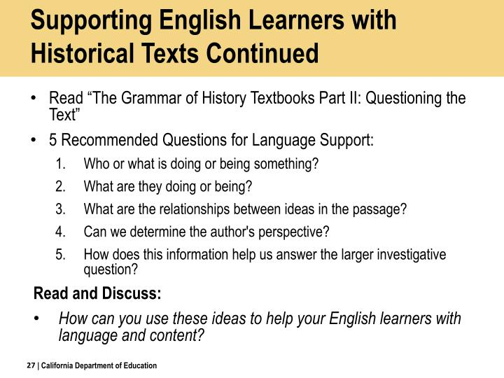 Supporting English Learners with Historical Texts Continued