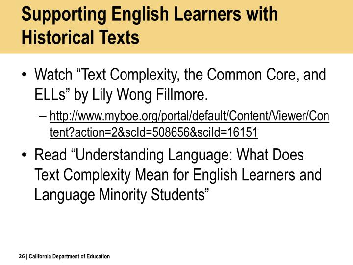 Supporting English Learners with Historical Texts