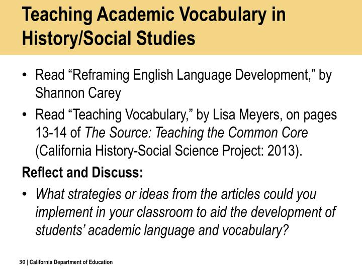 Teaching Academic Vocabulary in History/Social Studies