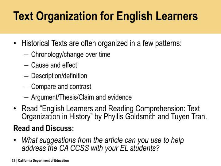 Text Organization for English Learners