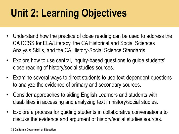 Unit 2: Learning Objectives