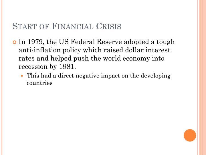 Start of Financial Crisis