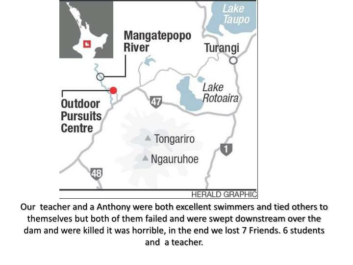 Our  teacher and a Anthony were both excellent swimmers and tied others to themselves but both of them failed and were swept downstream over the dam and were killed it was horrible, in the end we lost 7