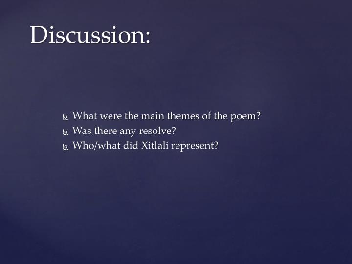 What were the main themes of the poem?