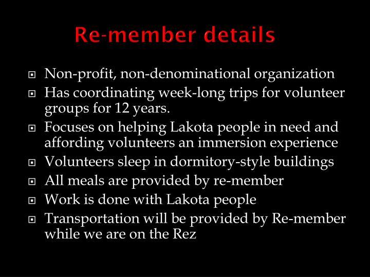 Re-member details