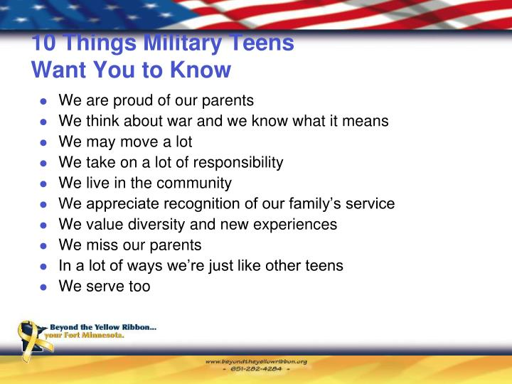 10 Things Military Teens