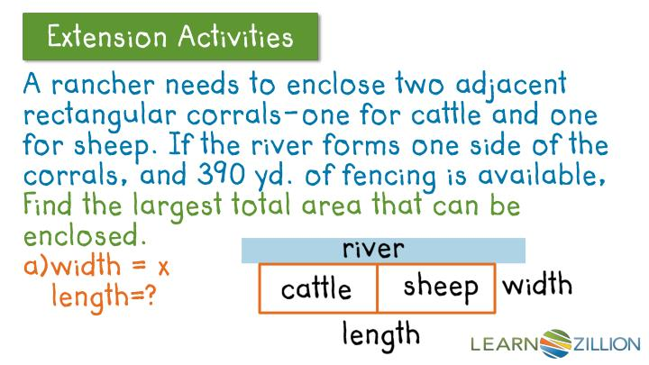 A rancher needs to enclose two adjacent rectangular corrals-one for cattle and one for sheep. If the river forms one side of the corrals, and 390 yd. of fencing is available,