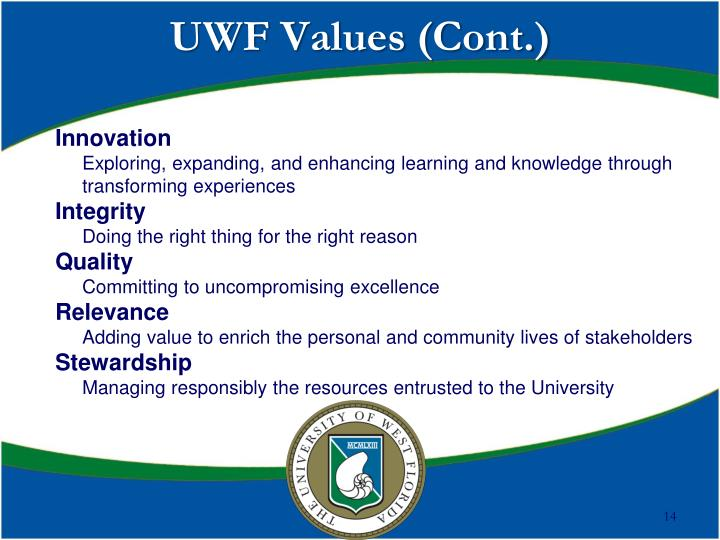 UWF Values (Cont.)