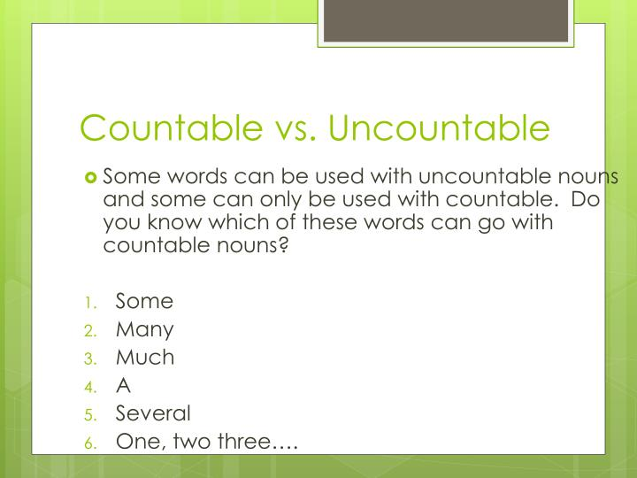 Countable vs. Uncountable