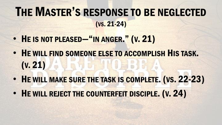 The Master's response to be neglected