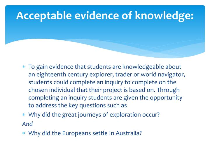 Acceptable evidence of knowledge: