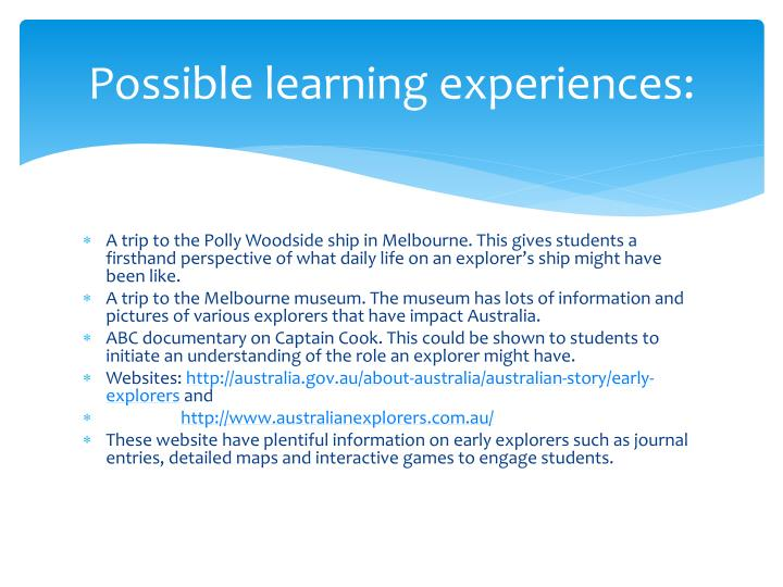 Possible learning experiences: