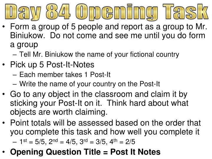 Day 84 Opening Task