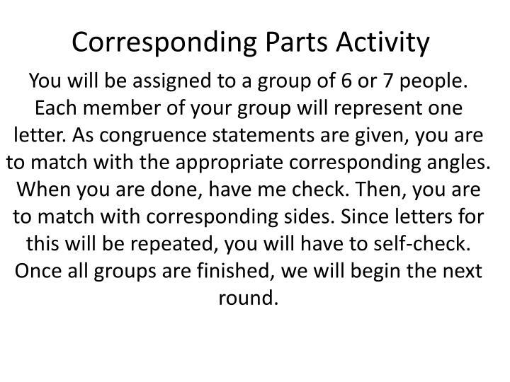 Corresponding Parts Activity