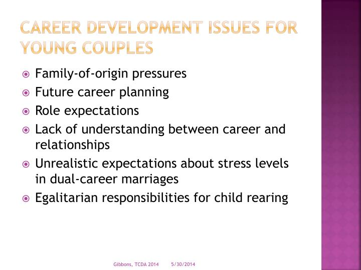 Career development issues for young couples