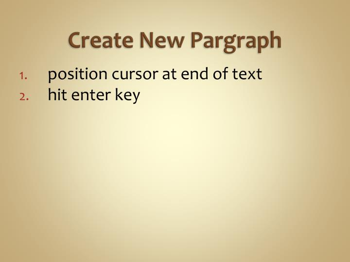 Create New Pargraph