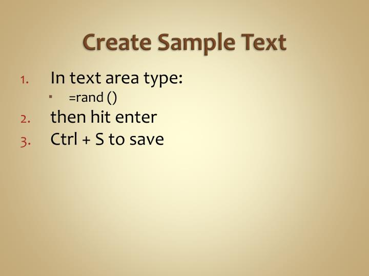 Create Sample Text