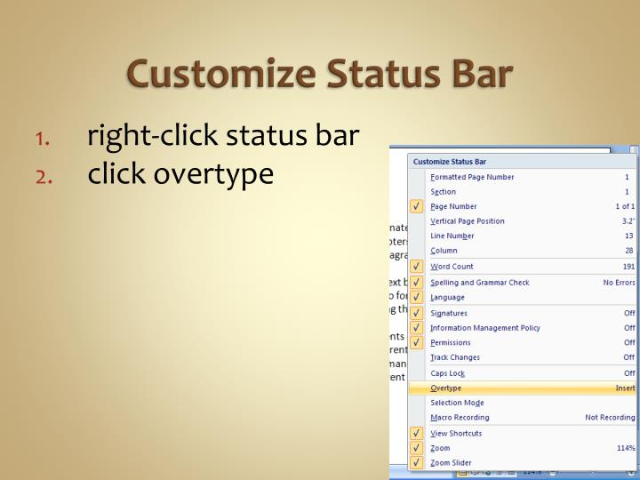 Customize Status Bar