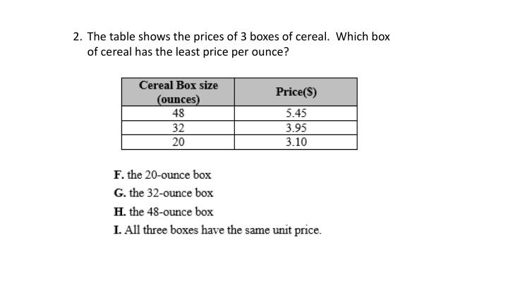 The table shows the prices of 3 boxes of cereal.  Which box of cereal has the least price per ounce?