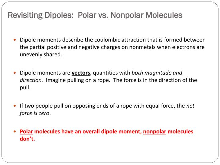 Revisiting Dipoles:  Polar vs. Nonpolar Molecules