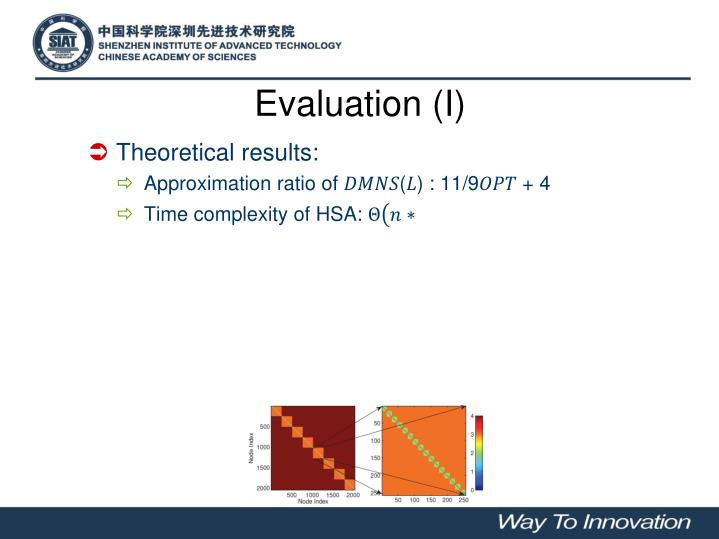 Evaluation (I)
