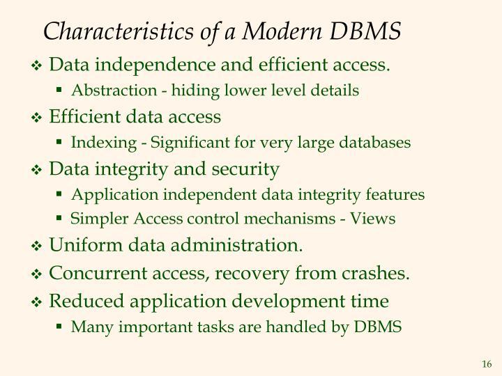 Characteristics of a Modern DBMS