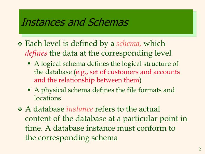 Instances and schemas