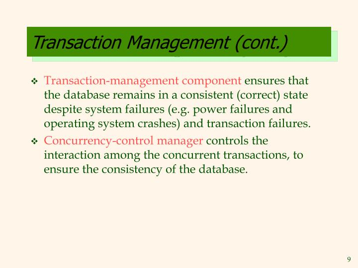 Transaction Management (cont.)