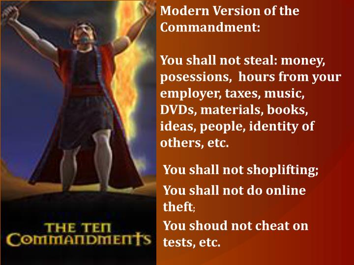 Modern Version of the Commandment: