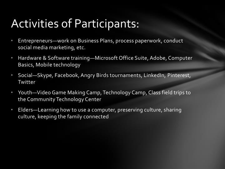 Activities of Participants: