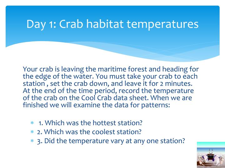 Day 1 crab habitat temperatures
