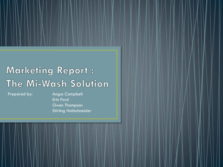 Marketing report the mi wash solution