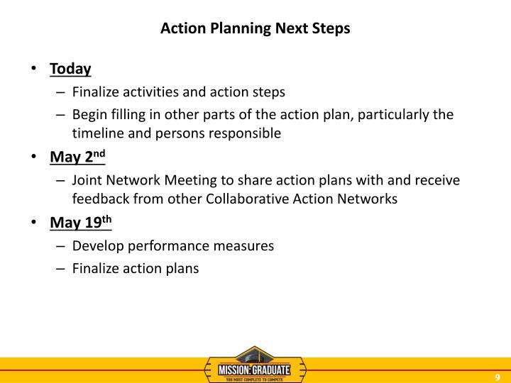 Action Planning Next Steps