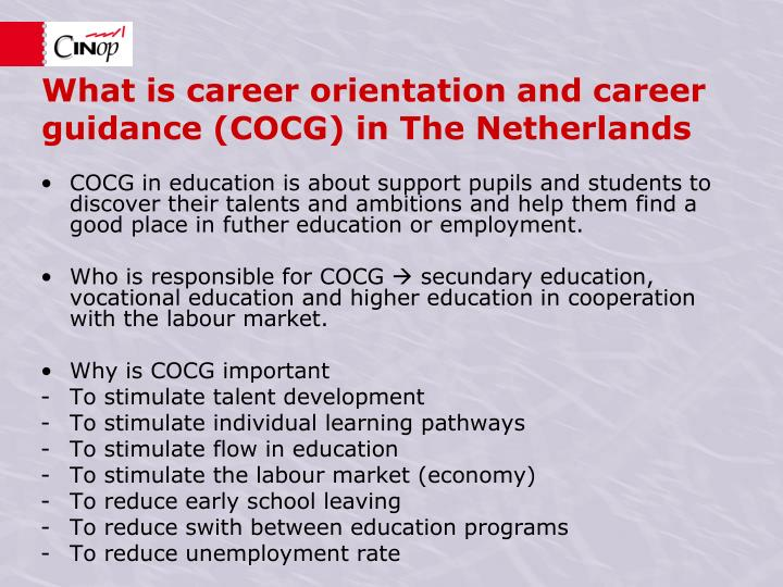 What is c areer orientation and career guidance cocg in the netherlands