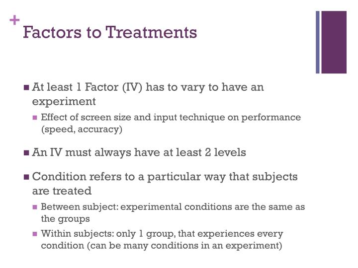 Factors to Treatments