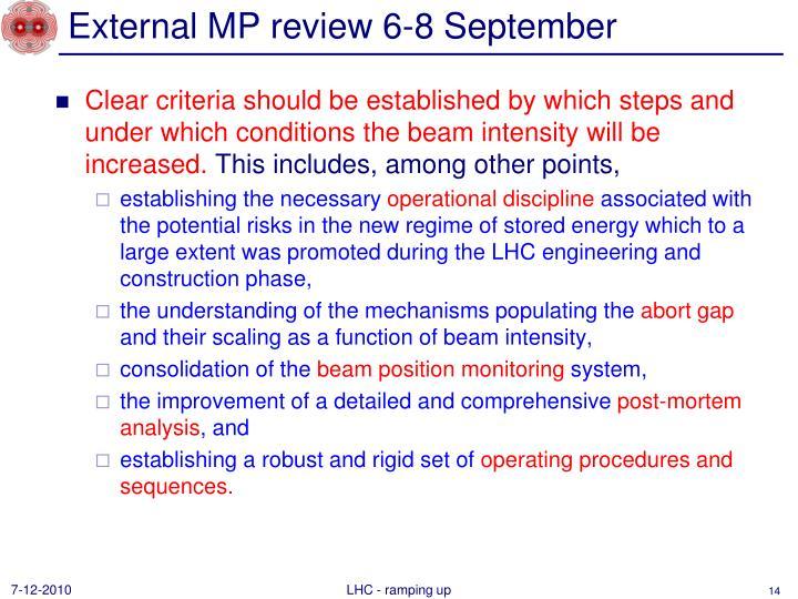 External MP review 6-8 September