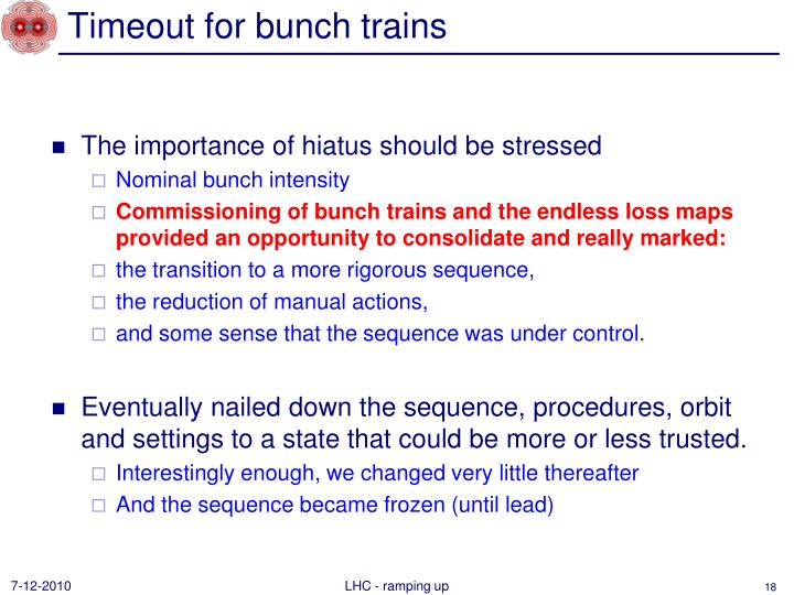 Timeout for bunch trains